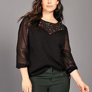 Torrid Black Chiffon Floral Embroidered Blouse